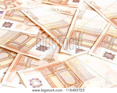 Euro Bankonotes Background Vintage