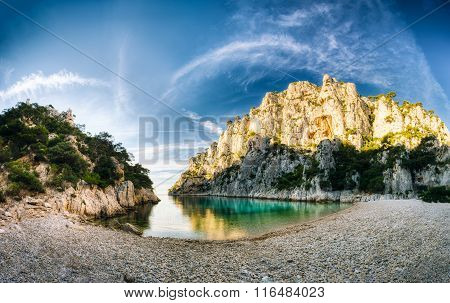 Panorama of beautiful nature of Calanques on the azure coast of