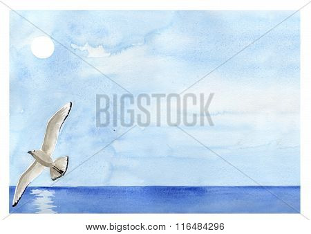 Flying sea gull painting