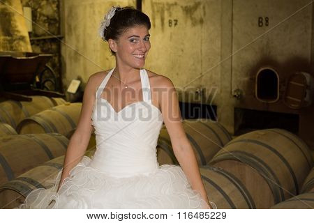 Portrait Of Beautiful Bride. Wedding Dress. Wine Cellar On The Background