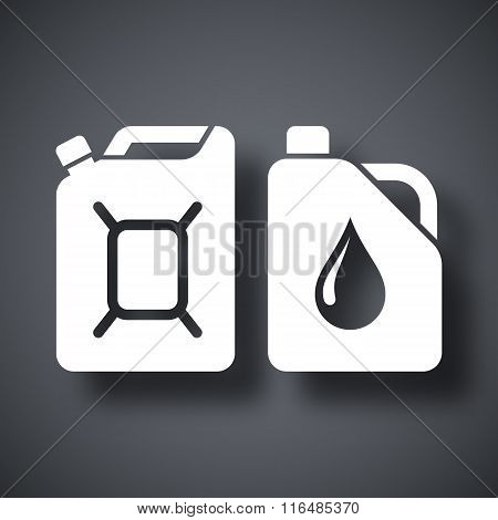 Canisters With Fuel And Oil, Vector Icon