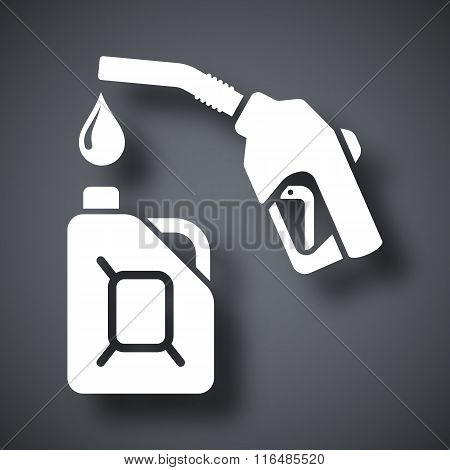 Gun For Fuel Pump And Canister Of Fuel, Stock Vector