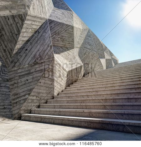 Architectural element of concrete wall with stairs up