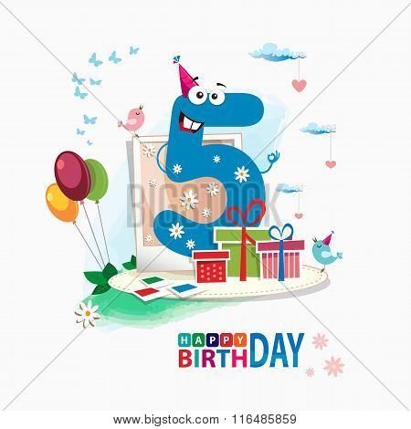 Fifth Birthday Card. Color Card. Celebration Background With Number Fifth