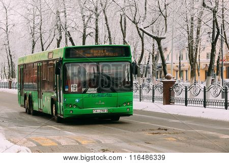 Bus rides route along the avenue of Victory in Gomel, Belarus
