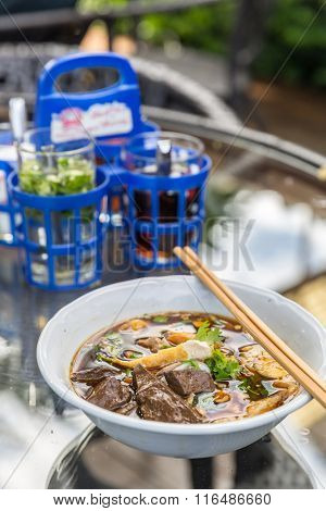 Chinese roll rice noodle soup