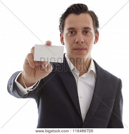 Young Business Man Is Holding Empty Card For Your Own Text