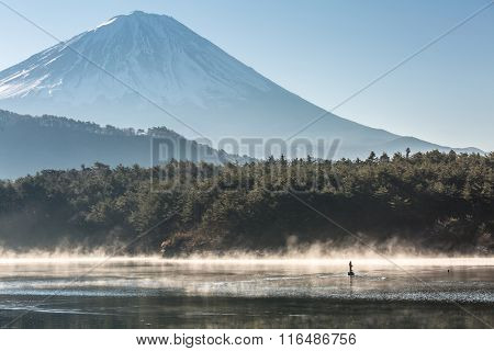 Mountain Fuji in winter sunrise Lake saiko