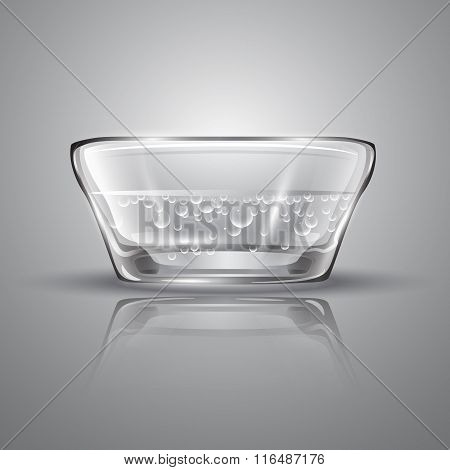 Vector illustration with   isolated glass bowl on grey background.