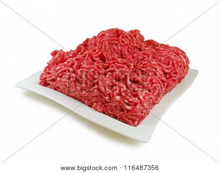 Raw meat. Fresh Minced Mix of Meat in a Dish Isolated Against White background