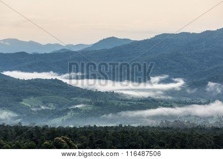 Fog Over Green Mountains Pai Mae Hong Son Thailand