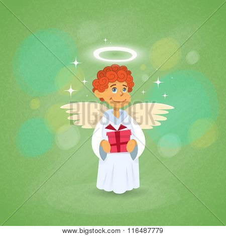 Valentine's Angel Cupid Holding Present Saint Valentine Holiday