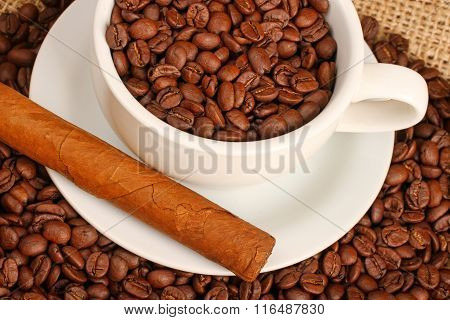 Coffee beans and cigar