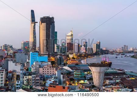 HO CHI MINH CITY, VIETNAM - JAN 15, 2016: Top view of Ho Chi Minh City at evening. Ho Chi Minh, former Saigon, is located in the South of Vietnam, is the country's largest city, population 8 million.