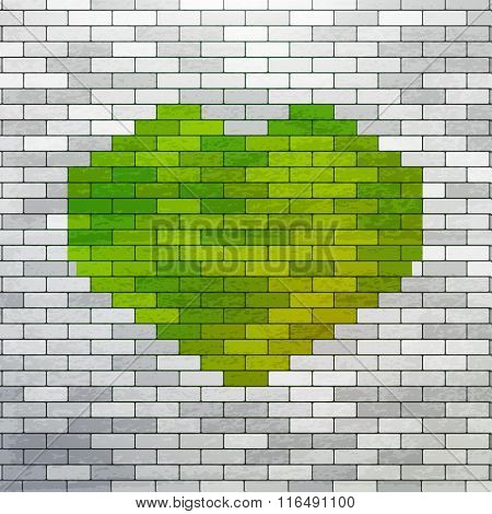 Green Heart made of bricks