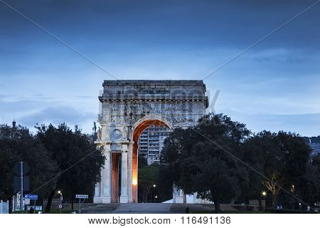 Genoa Arch On Piazza Della Vittoria