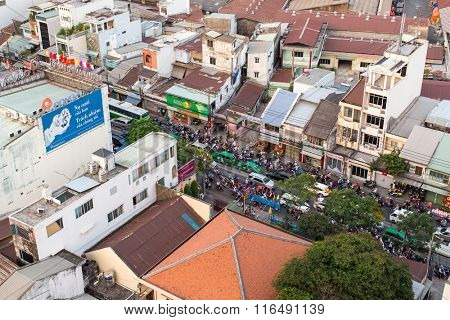 HO CHI MINH CITY, VIETNAM - JAN 15, 2016: Top view of road traffic in Ho Chi Minh City. Ho Chi Minh is located in the South of Vietnam, is the country's largest city, population 8 million.