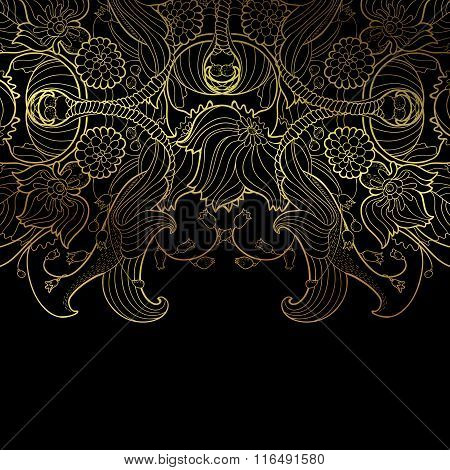 Luxury vector floral linear decorative border