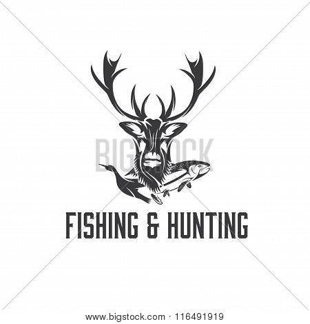 Vintage Hunting And Fishing Vector Design Template