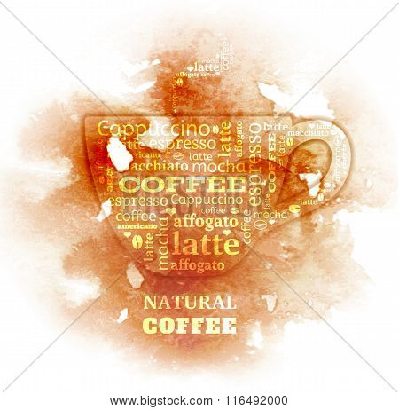 coffee cup typography from words on watercolor background