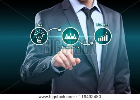 businessman pressing idea team work success virtual button. concept