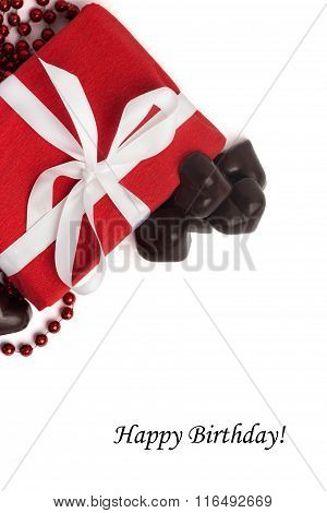 Tag Happy Birthday With Red Present Box With White Ribbon
