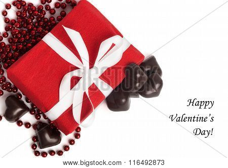 Tag Happy Valentine's Day With Red Present Box With White Ribbon