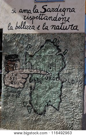 Orgosolo Italy 4 October 2015 Murales In Orgosolo Italy Since About 1969 The Wall Paintings Reflect