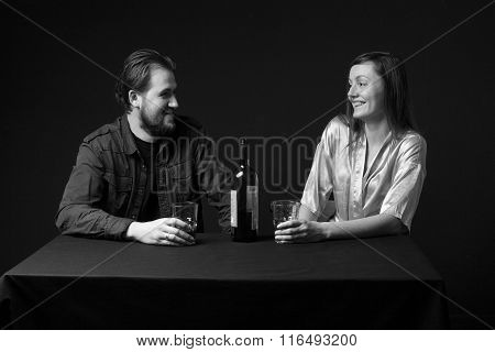Man And Woman Are Drinking Alcohol