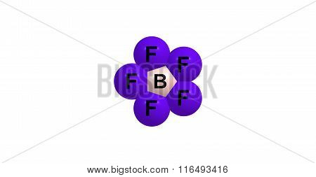 Bromine pentafluorid molecular structure isolated on white