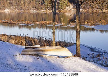 Boat Near A River In A Winter