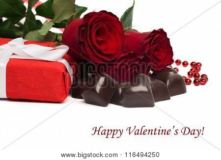 Tag Happy Valentine's Day With Red Present Box And Ribbon, Roses