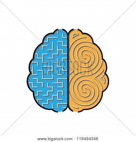 Left And Right Brain With Mazes Inside Concept