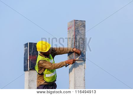 Labor Prepare Pillar Cement With Steel Rod In Construction Site