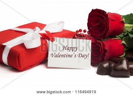 Tag Happy Valentine's Da? With Red Present Box And White Ribbon