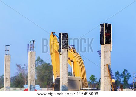 Pillar Cement With Steel Rod In Construction Site