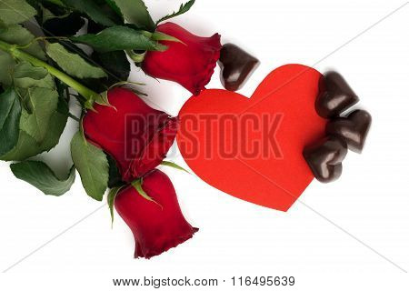 Bouquet Of Red Roses, Red Paper Heart And Candies