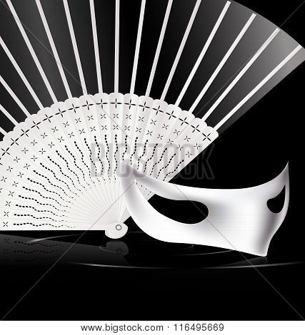 white halfmask and fan