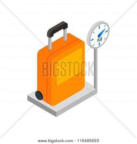 Luggage on scales 3d isometric icon
