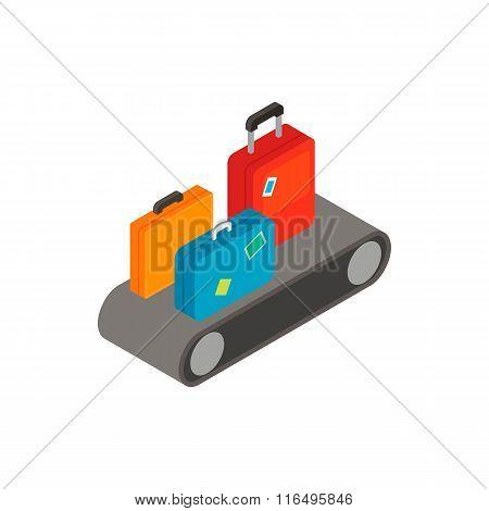 Luggage on conveyor isometric 3d icon
