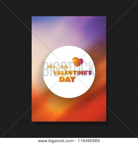 Valentine's Day Flyer or Cover Design Template With Colorful Blurred Background