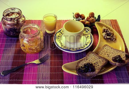 Healthy Breakfast With Cofee, Toast,  Nuts And Juice