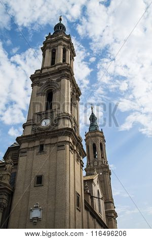 Towesr Of Basilica Of Our Lady Of The Pillar In Zaragoza, Spain