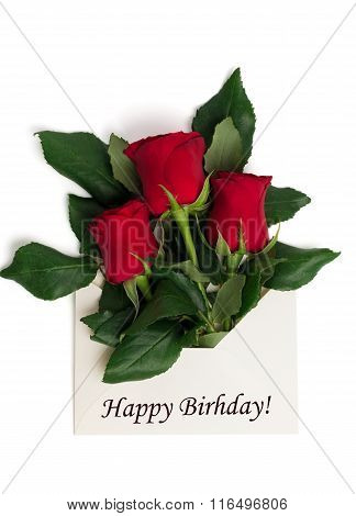 Tag Happy Birthday With Bouquet Of Red Roses In Envelope