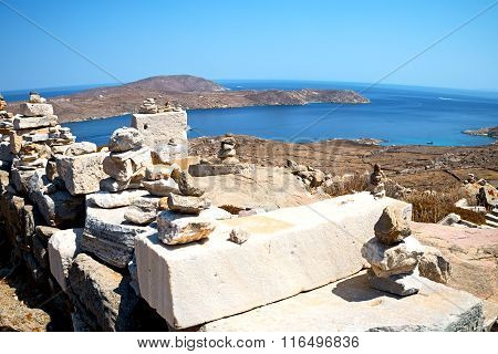 Temple  In Delos Greece The Historical Acropolis And Old Ruin Site