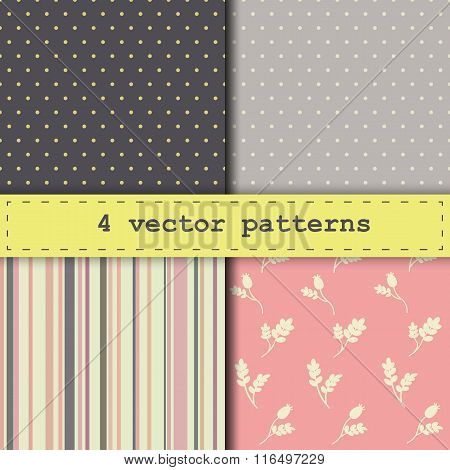 4 Different Vector Seamless Pattern