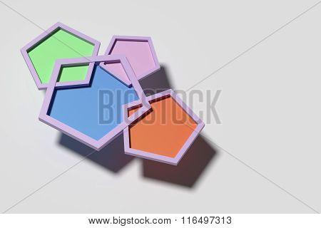 Four Pentagons On White Background