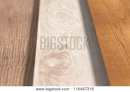 Close-up Of Different Wooden Planks On Floor