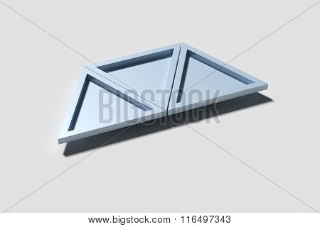 Three Triangles Casting Shadow On White Surface