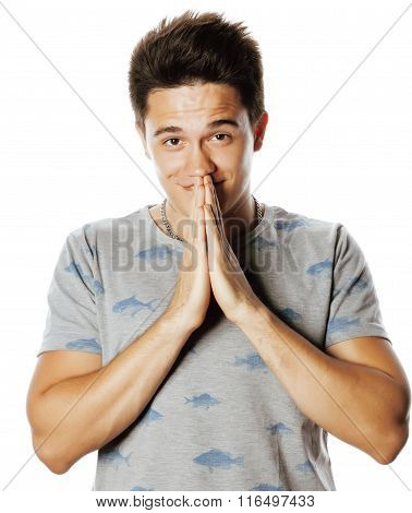 young attractive man isolated thinking emotional on white close up gesturing smiling